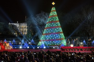 President Barack Obama, First Lady Michelle Obama, daughters Sasha and Malia, and Marian Robinson participate in the National Christmas Tree lighting on the Ellipse in Washington, D.C., Dec. 4, 2014. (Official White House Photo by Lawrence Jackson)